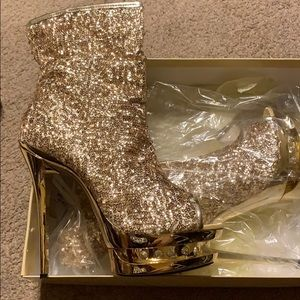 "HIGHEST HEEL 6"" Gold Sequin Stiletto"